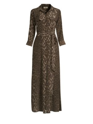 Cameron Leopard-Print Silk Crepe De Chine Maxi Dress, Dark Olive