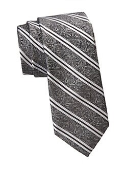 420b992e19235 Saks Fifth Avenue. COLLECTION Paisley Stripe Silk Tie