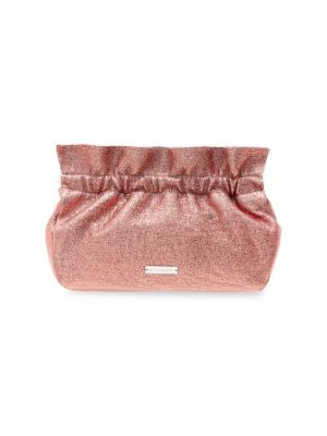 Carrie Ruffle Frame Leather Clutch in Buff/ Pink