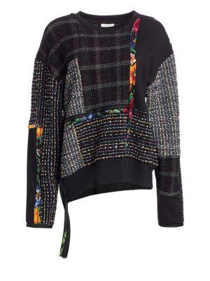 Patchwork Tweed Sweater in Black