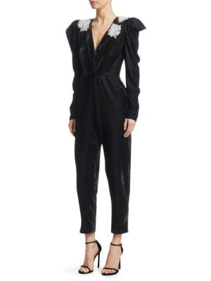 Dodo Bar Or Madison Embellished Velvet Jumpsuit