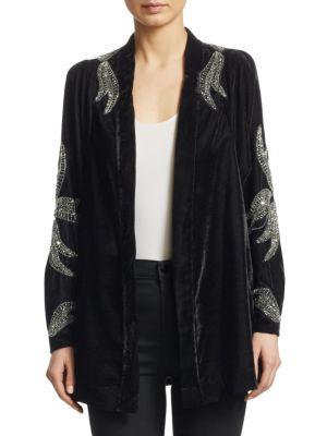 Corrine Embellished Velvet Cardigan, Black Velvet