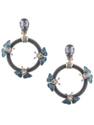 Brutalist Butterfly Crystal Clip-On Earrings, Blue