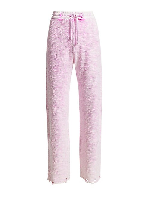 Image of Embrace the athleisure trend with these high-waist joggers in a wide leg silhouette. Crafted of textured reverse-weave cotton with distressed detail. Elasticized drawsting waist. Pull-on style. Wide leg. Cotton. Dry clean. Made in USA. SIZE & FIT. Rise, a