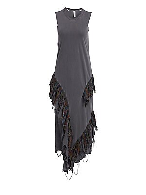 Image of A distressed multicolored ikat fringe adorns the skirt of this tank dress. The piece is crafted out of pure cotton and simultaneouslymanages to be both avant-garde and highly wearable. Distressed crewneck Sleeveless Pullover style Distressed handkerchief