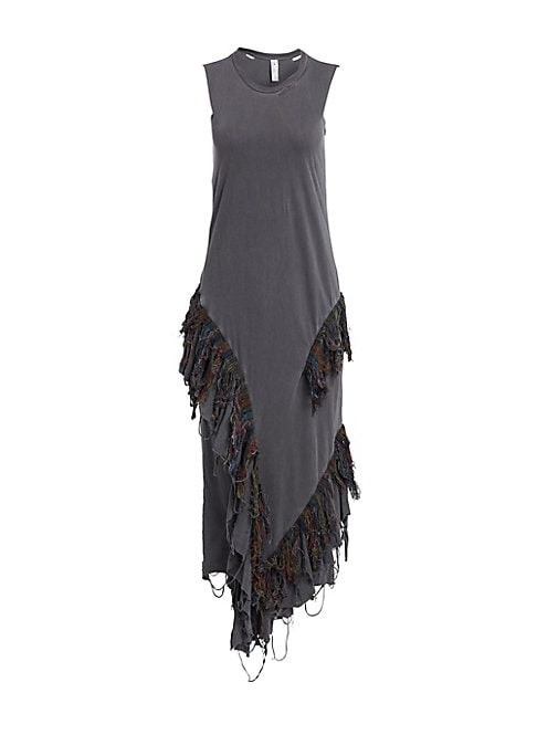 Image of A distressed multicolored ikat fringe adorns the skirt of this tank dress. The piece is crafted out of pure cotton and simultaneouslymanages to be both avant-garde and highly wearable. Distressed crewneck. Sleeveless. Pullover style. Distressed handkerchi