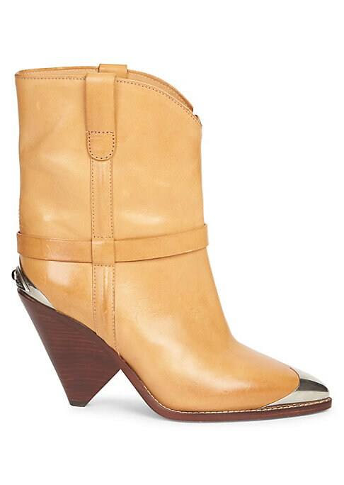 """Image of From the Saks IT LIST. THE COWBOY BOOT. Pair this versatile must-have with flowing skirts, jeans and more. Luscious leather accentuated with metallic eye embellishment on boots. Self-covered cone heel, 3.54"""" (90mm).Leather upper. Point toe. Pull-on style."""