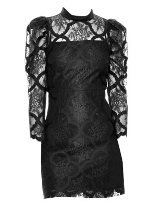 Puff Sleeve Lace Mini Dress in Black
