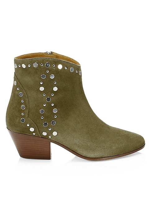 """Image of From the Saks IT LIST. THE COWBOY BOOT. Pair this versatile must-have with flowing skirts, jeans and more. Embellishments add edge to suede ankle boots. Self-covered stacked heel, 2"""" (50mm).Suede upper. Point toe. Side zip closure. Leather lining and sole"""