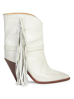 """Image of From the Saks IT LIST THE COWBOY BOOT Pair this versatile must-have with flowing skirts, jeans and more. Braided tassels offer boho accents to mid-calf boots Self-covered cone heel, 3.54"""" (90mm) Leather upper Point toe Pull-on style Leather lining and sol"""