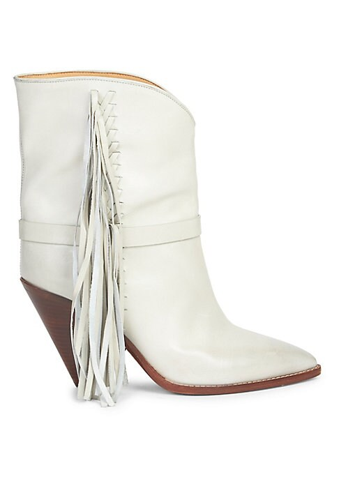 """Image of From the Saks IT LIST. THE COWBOY BOOT. Pair this versatile must-have with flowing skirts, jeans and more. Braided tassels offer boho accents to mid-calf boots. Self-covered cone heel, 3.54"""" (90mm).Leather upper. Point toe. Pull-on style. Leather lining a"""