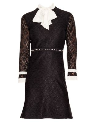 Horse Lace Tie-Neck Mini Dress in Black