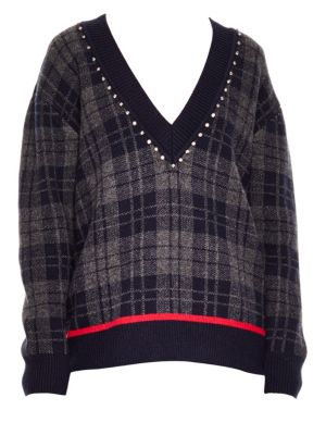 Embellished Plaid Sweater, Deep Navy