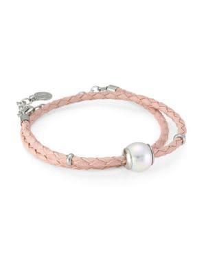 Amazona Braided Double Wrap Imitation Pearl & Leather Bracelet in Pink
