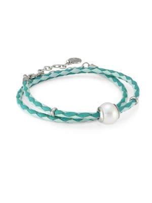 Amazona Braided Double-Wrap Imitation Pearl & Leather Bracelet, White