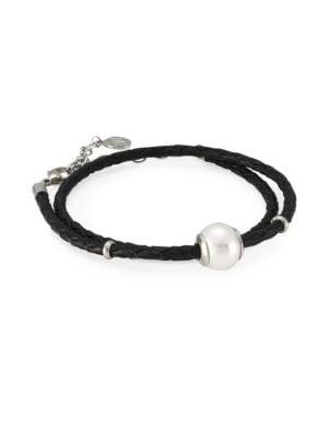 Amazona Braided Double Wrap Imitation Pearl & Leather Bracelet, Black