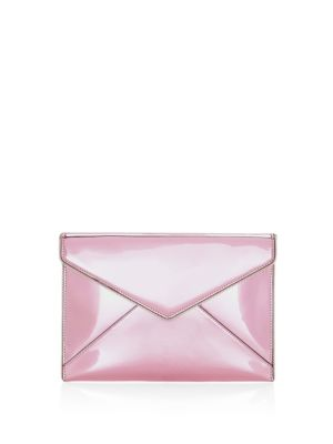 Leo Mirror Metallic Clutch - Pink