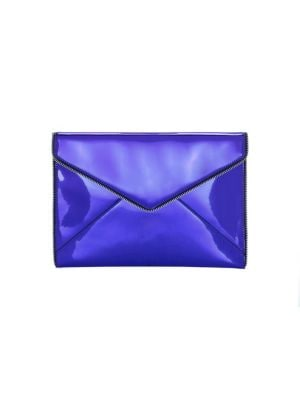 Leo Mirror Leather Clutch in Blue