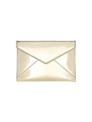 Leo Mirror Leather Clutch in Gold