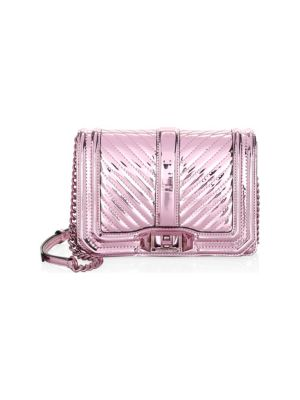 Small Love Quilted Metallic Crossbody - Pink