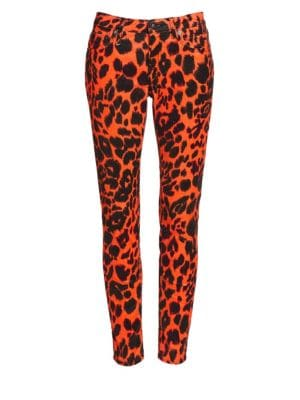 Kate Leopard-Print Low-Rise Skinny Jeans, Orange Leopard