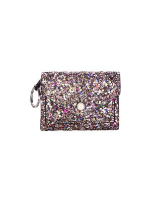 Glittler Leather Bi-Fold Key Ring Wallet, Silver Multi
