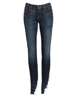 Kate Angled Fray Hem Skinny Jeans in Denim Dark