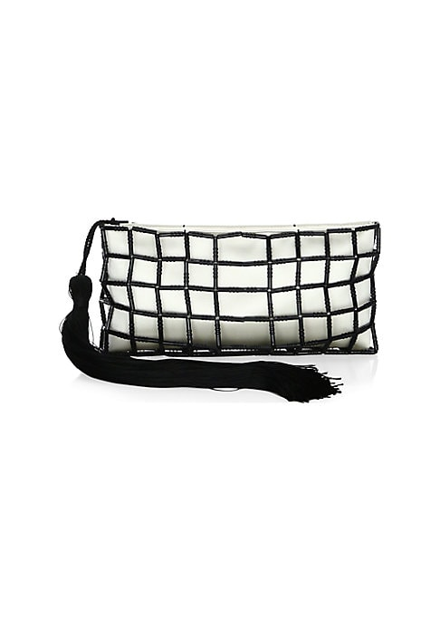 """Image of A lengthy tassel pull adds movement to this elegant beaded silk pouch. Top zip closure. Silk. Made in Italy. SIZE.10.25""""W x 5""""H x 0.75""""D."""