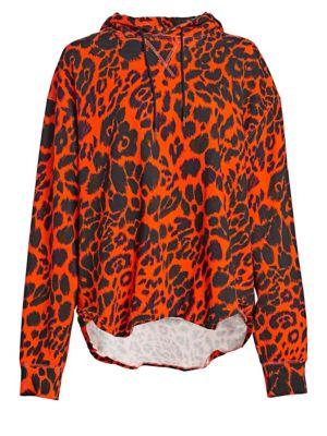 Oversized Leopard-Print Cotton-Jersey Hoodie in Orange