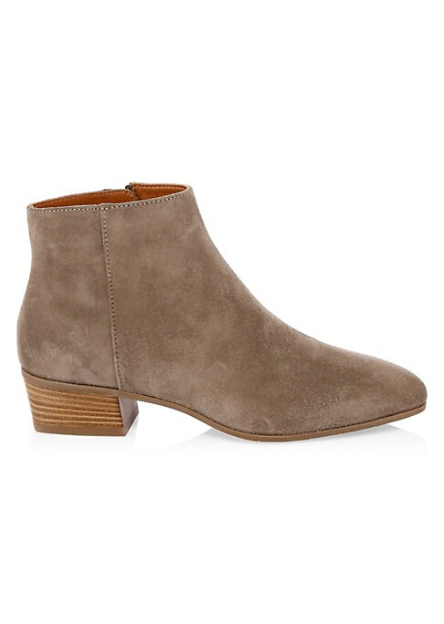 "Image of Classic ankle boots elevated in stunning suede. Stacked heel, 1.5"" (40mm).Leather upper. Square toe. Side zip closure. Rubber sole. Made in Italy."
