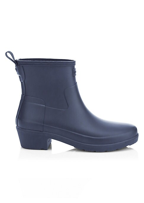 """Image of A low heel adds biker appeal to this rubber rain bootie. Rubber upper. Round toe. Pull-tab at back. Nylon lining. Rubber sole. Imported. SIZE. Shaft height, 7"""".Rubber block heel, 1"""" (25mm)."""