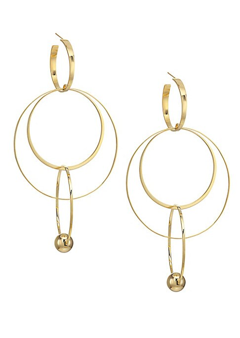"""Image of From the Vice Collection. Artful earrings flaunt a triple hoop design that is finished with a bold bauble.14K yellow gold. Post back. Imported. SIZE. Width, 2"""".Drop, 4""""."""