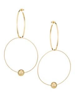 aeb5b443a0fe3 LANA JEWELRY. 14K Yellow Gold Bond Link Hollow Ball Hoop Earrings