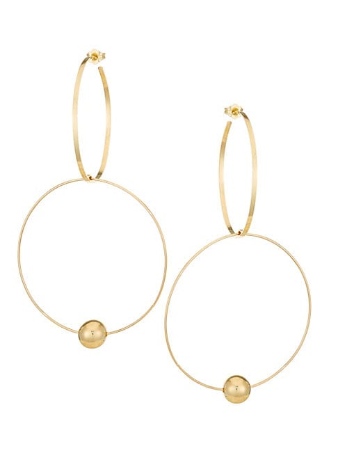 """Image of 14K yellow gold delicate double hoop drop earrings with hollow ball finish.14K yellow gold. Post back. Imported. SIZE. Drop, about 3.5"""".Width, about 2""""."""