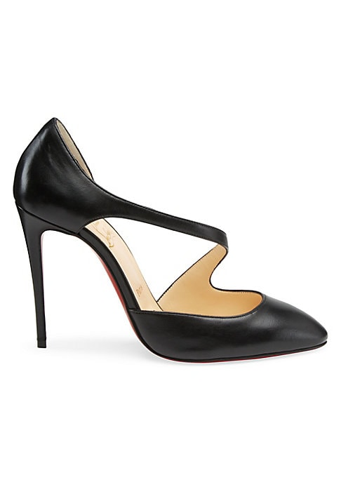 "Image of An asymmetric front strap updates ladylike leather heels. Leather upper. Point toe. Leather lining and sole. Made in Italy. SIZE. Self-covered stiletto heel, 4"" (100mm)."