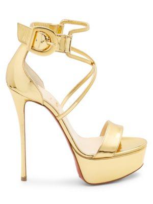 Choca 130 Mirrored Leather Platform Sandals in Gold