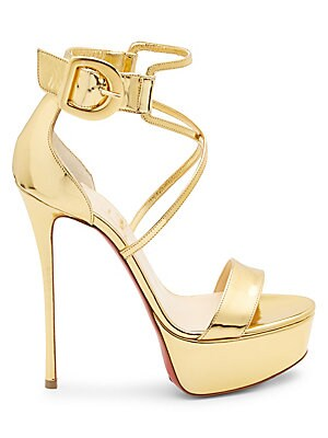 7f71c446d02f Christian Louboutin - Choca 130 Mirrored Leather Platform Sandals - saks.com