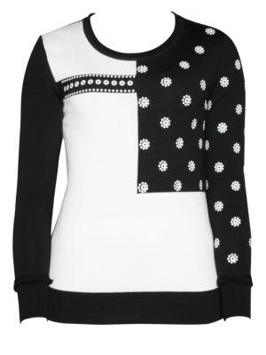 STIZZOLI, PLUS SIZE Wool Colorblock Sweater in Black White