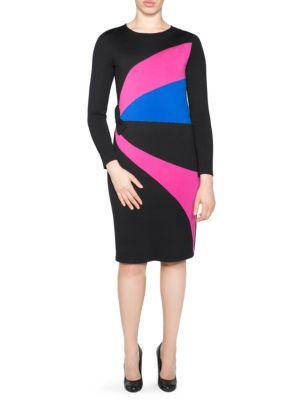 STIZZOLI, PLUS SIZE Colorblock Sheath Dress in Black Fuchsia Blue