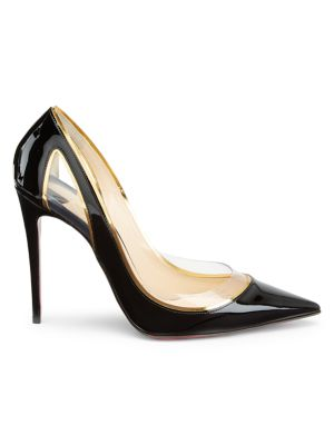 CHRISTIAN LOUBOUTIN Cosmo 100 Metallic-Trimmed Pvc And Patent-Leather Pumps in Black