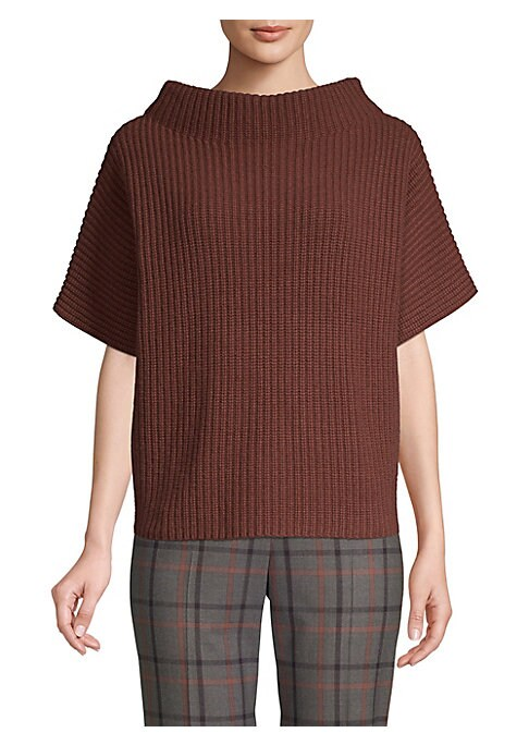 """Image of Exaggerated neckline tops chunky knit sweater. Bateau neckline. Short sleeves. Pullover style. Boxy silhouette. About 22"""" from shoulder to hem. Wool/silk/cashmere. Dry clean. Made in Italy. Model shown is 5'10"""" (177cm) wearing US size 4."""