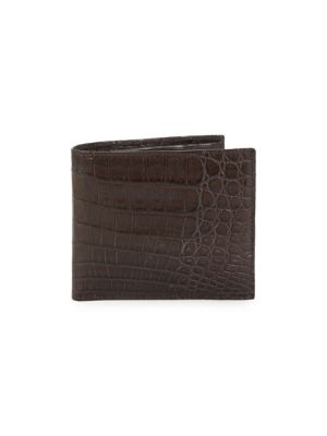 SANTIAGO GONZALEZ Crocodile Billfold Wallet in Chocolate