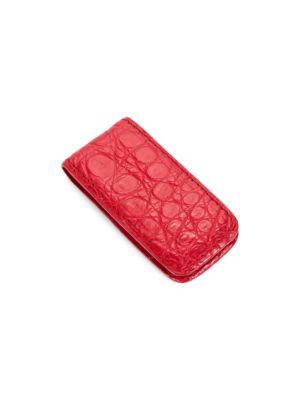 SANTIAGO GONZALEZ Crocodile Money Clip in Red