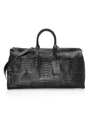 SANTIAGO GONZALEZ Crocodile Skin Duffle Bag in Charcoal