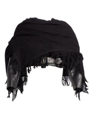 NOIR KEI NINOMIYA Faux-Leather Cropped Biker Jacket Fringe Scarf in Black