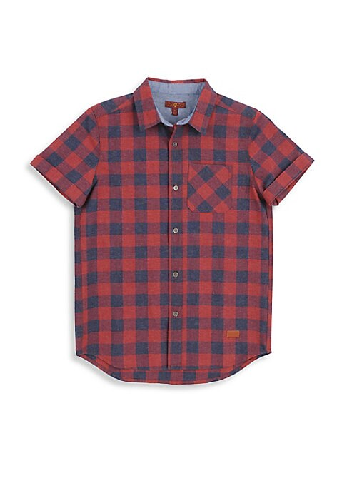 Image of Charming button-down shirt boasting allover buffalo check. Point collar. Short sleeves. Button front. Patch pocket. Shirttail hems. Cotton/polyester. Machine wash. Imported.