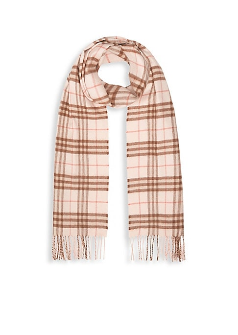 """Image of A check cashmere scarf woven at a 200-year-old Scottish mill and washed in local spring water for a super-soft finish. Fringe trim. Cashmere. Dry clean. Made in UK. SIZE.11""""W x 68""""L."""
