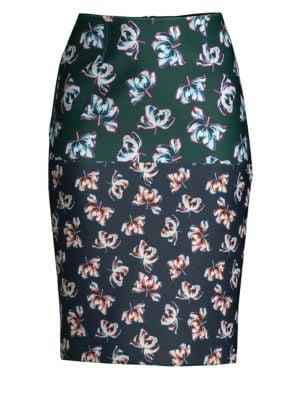 Yigal Azrouël Floral-Print Scuba Pencil Skirt
