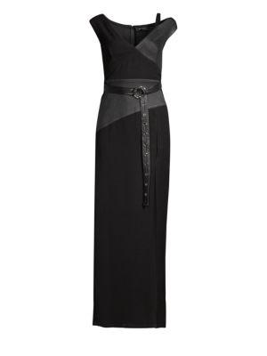 Yigal Azrouël Asymmetric Leather Column Gown