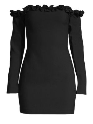 LIKELY Rumi Off-Shoulder Ruffle Long-Sleeve Mini Dress in Black